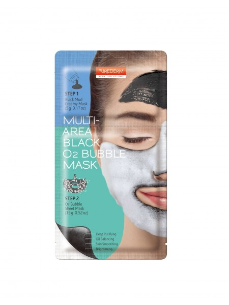 """Двухкомпонентная кислородная очищающая маска Multi-Area Black O2 Bubble Mask / 20 г """"Purederm"""""""