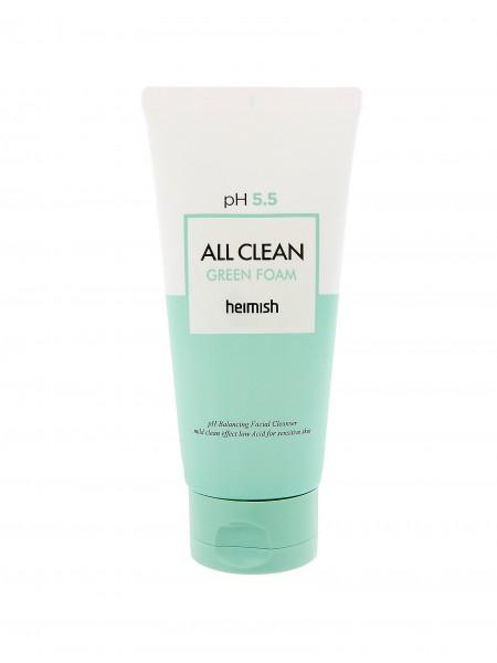 """Очищающая пенка для умывания с нейтральным РН  All Clean Green Foam 150 г """"Heimish"""""""