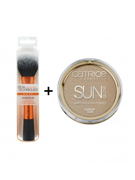 "Кисть для пудры Powder Brush (+Пудра Catrice Sun Glow Matte Bronzer в подарок) ""Catrice"""