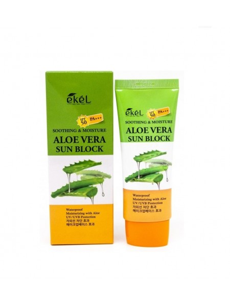 "Солнцезащитный крем с алоэ вера UV Soothing & Moisture Aloe Vera Sun Block SPF 50 PA+++ ""Ekel"""
