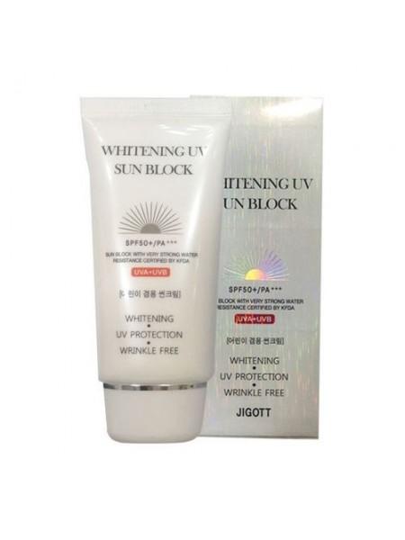 """Крем для лица и тела солнцезащитный отбеливающий SPF50+ PA+++ Whitening UV Sun Block """"Jigott"""""""