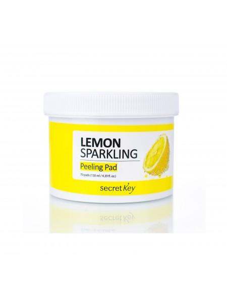 """Пилинг-диски для лица с лимоном Lemon Sparkling Peeling Pad, 130 мл """"Secret Key"""""""