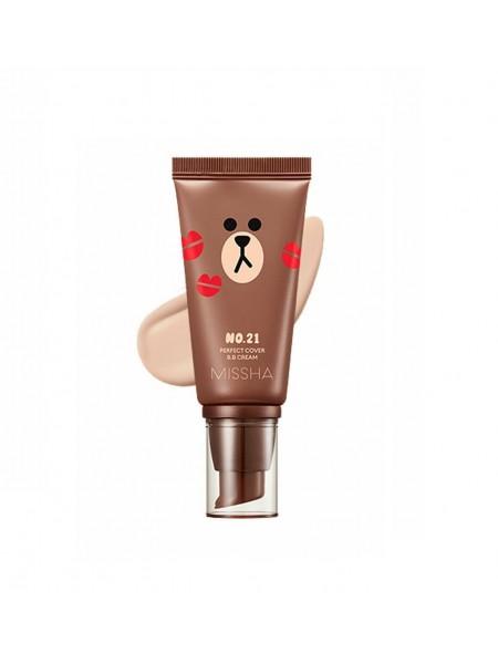 "BB крем для лица Line Friends 2018 Perfect Cover BB Cream No.21 Light Beige 50 мл ""Missha"""