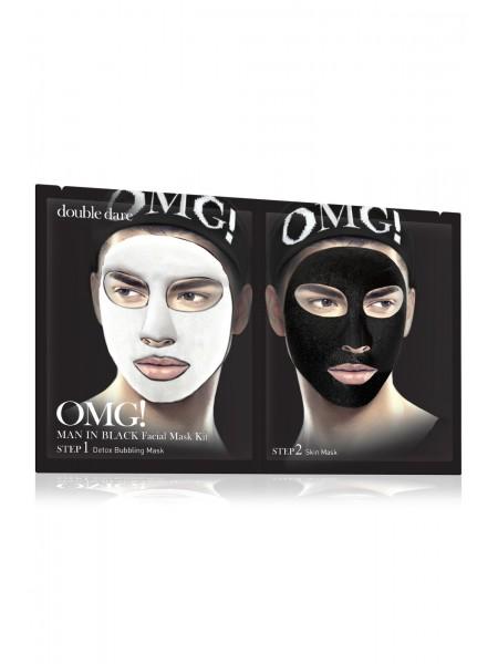 "Комплекс мужских масок двухкомпонентный «Детокс» | Double Dare OMG! Man In Black Facial Mask Kit ""Double Dare"""