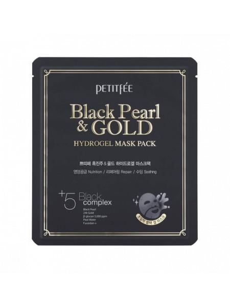 "Гидрогелевая маска для лица с черным жемчугом Black Pearl & Gold Hydrogel Mask Pack ""Petitfee """