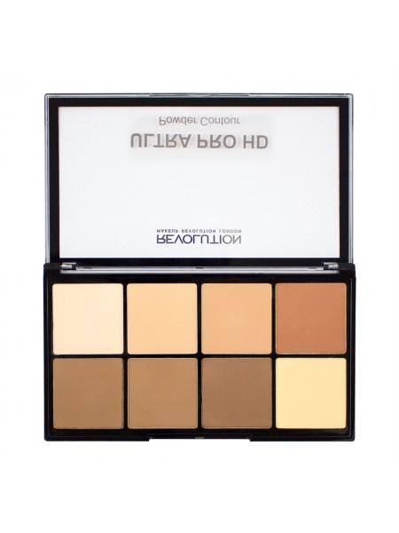 """Палетка для контурирования лица  HD Pro Powder Contour Light Medium """"Makeup Revolution"""""""