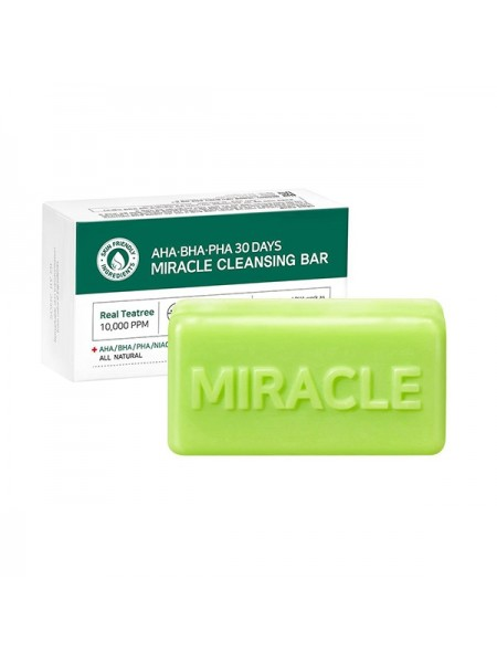 """Очищающее мыло для проблемной кожи с кислотами AHA-BHA-PHA 30 Days Miracle Cleansing Bar """"Some By Mi"""""""